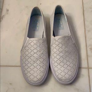 Keds White Eyelet slip on sneakers!